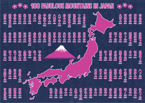 100 FABULOUS MOUNTAINS IN JAPAN タペストリー ツツジ